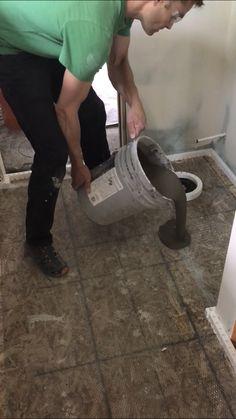 Self Leveling Concrete Tools & Underlayment Concrete Tools, Concrete Crafts, Floor Preparation, Black Kitchen Island, Tile Installation, Black Kitchens, Home Repair, Home Projects, Home Improvement