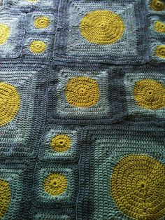 Sunny squares! Lime Dot Crocheted Throw Blanket  Ready to Ship by joycebuckley, $85.00