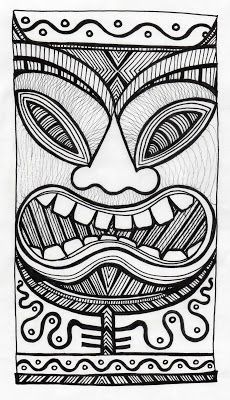 Pinner sez: Stitchlily: How to draw a Tiki Head! I'm going to make stamps for the separate pieces, so I can assemble a bunch of different ones. Tiki Maske, Tiki Faces, Tiki Head, Tiki Art, Tiki Tiki, Tiki Totem, Mask Drawing, Hawaiian Tiki, Maori Art