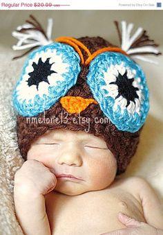 ON SALE BEN the owl  handmade crochet Hat 0 to 10 by NattyHatty, $19.31