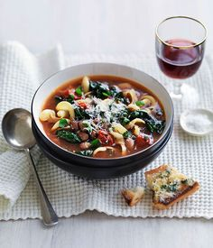 Australian Gourmet Traveller fast recipe for bean, cavolo nero and pasta soup.