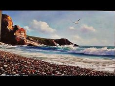 """Sea & Gull"" Paint sea easy way. Painting techniques for beginners. Oil painting, acylic painting - YouTube"