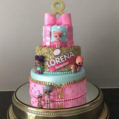 Doll Birthday Cake, Funny Birthday Cakes, 6th Birthday Parties, Girl Birthday, Glitter Birthday Cake, Birthday Ideas, Bolo Fack, Lol Doll Cake, Surprise Cake