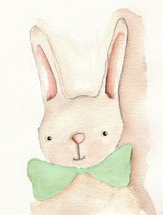 Nursery Decor Bunny Art Print Mint by RoseHillDesignStudio, $22.00