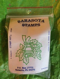 VTG Sarasota Stamps Holiday Bell Holly 1995 Stamp Art New In Pkg