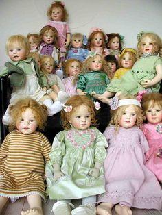 Group of beautiful Ella Hass dolls