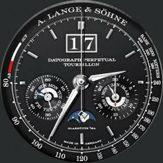 A Lange & Söhne Saxonia Datograph Perpetual Tourbillon - Watch Faces for Samsung Gear S2 & S3 & Android Wear