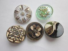 Beautiful Czech Glass Buttons.  Medium Glass Buttons. Gold Luster Trim. Modern Czech Glass. OneWomanRepurposed Buttons. Clover Button B285 by OneWomanRepurposed on Etsy