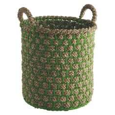 MACEY Green seagrass basket with handles