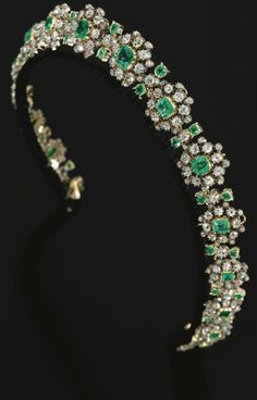 This is one I'd wear, like all the time. Diamond and Emerald Tiara,1880s.