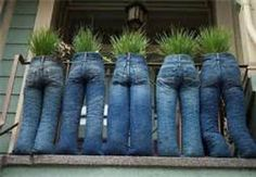 upcyled blue jeans as planters.