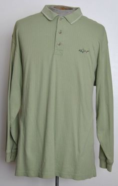 Greg Norman Mens Size 2XL Solid Green 100% Cotton Long Sleeve Golf Polo Shirt #GregNorman #PoloRugby