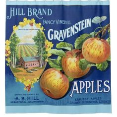 Gravenstein Apple Shower Curtain - shower gifts diy customize creative Vegetable Crates, Vegetable Garden, Apple Crates, Fruit Crates, Fruit Box, Sonoma County California, Apple Fruit, Unsweetened Applesauce, Slow Food