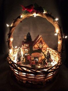 Sweet Christmas Cottage Basket
