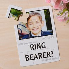 Plain White Will you be my Ring Bearer Puzzle Card