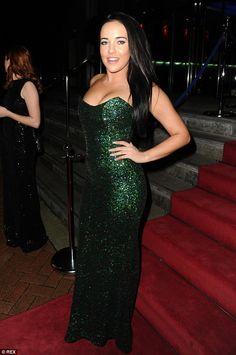 Looking fly! Hollyoaks star Stephanie Davis looked sensational in a shimmery green gown...