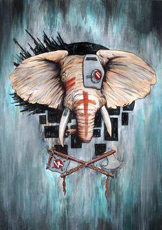 Online Store for Ryan Allan Illustration Dangerous Animals, Vulnerability, Climate Change, Habitats, Beast, Elephant, Creatures, African, Marketing