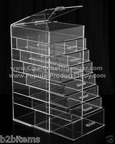Acrylic Makeup Organizer w Drawers Clear Cube Cosmetic | eBay