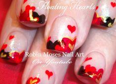 "Robin Moses Nail Art: ""cute valentine nails"" ""easy valentine nails"" Valentine's Day Nail Art ""floating hearts"" ""gold hearts"" ""red and black hearts"" ""heart design"" Nail Designs Tumblr, Heart Nail Designs, Valentine's Day Nail Designs, Nail Art Saint-valentin, Heart Nail Art, Heart Nails, Valentine Nail Art, Valentines, Valentine Hearts"