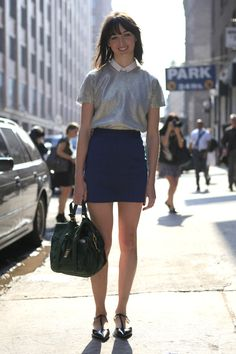 #NYFW day 2: street style, everyone's wearing metallic silver accents    This would be a great look for my new working wardrobe, but I'd wear a longer skirt.