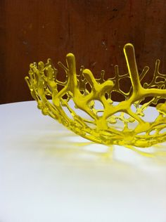Sunshine yellow fused glass coral bowl by Calgary Artist Michelle Atkinson of Jewelnotes