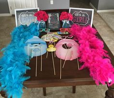 Photo booth props for Gender Reveal Party