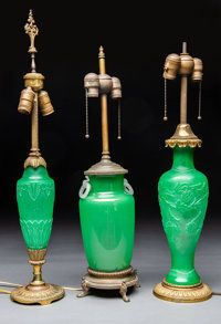 Three Steuben Metal and Jade Green Glass Table Lamps Early century. (tallest) - Available at 2019 May 14 Tiffany, Lalique &. Steuben Glass, Glass Art, Glass Lamps, Art Deco Lighting, Tiffany Lamps, Jade Green, Glass Table, Table Lamps, Pottery Art