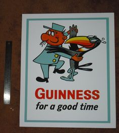 New 1960s GUINNESS Poster Art Print advertising Guinness Toucan Zookeeper ad