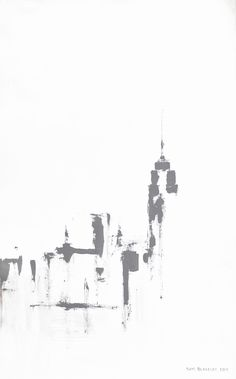 """11 x 14"""" Giclee Print of New York City signed by Sam Blakeley  This gestural painted sketch of the Empire State Building and the Manhattan Skyline would look good in any modern clean decor."""