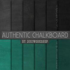 12 Chalkboard Digital Paper Authentic Chalkboard  by DigiWorkshop
