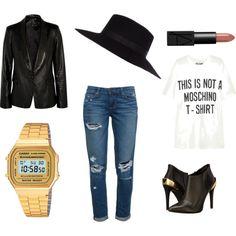 Simple by lucky-caat on Polyvore featuring moda, Moschino, Iris & Ink, Paige Denim, Love Moschino, Casio and River Island