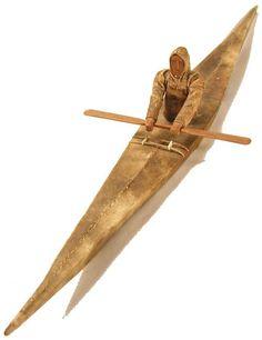 Inuit (Alaska), Model Kayak, leather/ivory/wood, c. 1900.