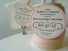 BEER COASTER save the dates! such a funny idea. Appropriate for, ahem, someone I know who looooves Budweiser.