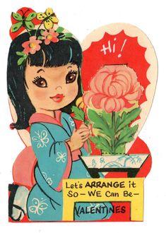 "❤️❤️❤️ BEAUTIFUL ASIAN GIRL SAYS ""LET'S ARRANGE IT"" / VINTAGE UNUSED VALENTINE CARD"