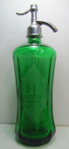 Antique Dunhill Beverage Co Green Glass Bevel Seltzer Bottle Neptune New Jersey
