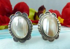 QT Quoc Sterling Silver & Pink Mother of Pearl Stampwork Earrings; Outstanding! #QtQuocTurquoise
