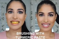 """""""This is the DIY I do before I go out, or right before I film my YouTube videos to make my teeth sparkly white in minutes,"""" she said. To make it, mix coconut oil and turmeric powder together to create a paste, and brush your teeth with it. After brushing, let the paste sit on your teeth for five minutes before rinsing out.Pro tip: Don't spit the DIY rinse down your sink — the oil can build up and clog pipes over time, so go straight to the trashcan.Learn more about it here."""