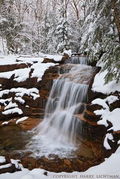 Cascade in Spring snow,  Franconia Notch, New Hampshire  ♥ ♥ www.paintingyouwithwords.com