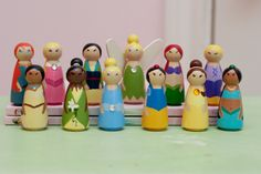 Choose any 10 Small Wooden Princess Peg Dolls by anrcdb2006