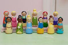 Choose any 10 Small Wooden Princess Peg Dolls by anrcdb2006