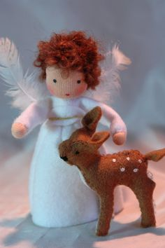 Oh my!  This is the angel I have been looking for!!!  Little Angel with Deer Christmas Flower door KatjasFlowerfairys