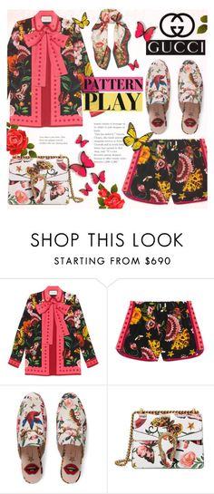 """""""Pattern Play with GUCCI"""" by alexandrazeres ❤ liked on Polyvore featuring Gucci, Flowers, butterflies, gucci, colourful and patternplay"""