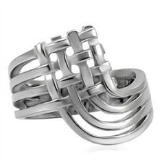 Stainless Steel Geometric Crisscross Ring Woven Open Silver Thumb SZ 5-10 #Unbranded #Band