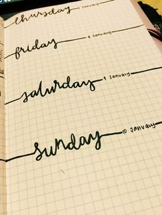 Bullet journal - like the lettering and the way it's also dividing the space. …