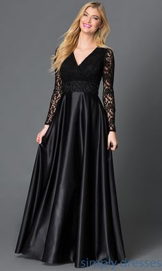 Shop long formal dresses and v-neck ball gowns at Simply Dresses. Floor-length long-sleeve dresses with lace and long black party dresses.
