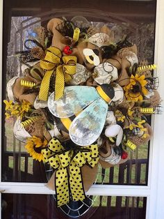Burlap and Bees Wreath by WreathsEtc on Etsy.