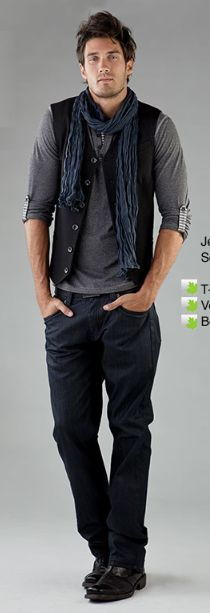 I love vests on men. Coming into fall / winter a nice scarf works and love the pants