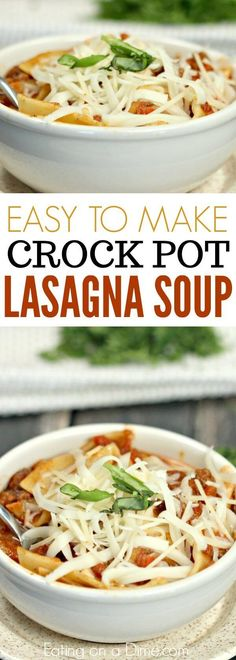 Easy lasagna recipe without all the work. You have to try this easy crock pot lasagna recipe! A lasagna soup crock pot recipe that tastes just like lasagna!