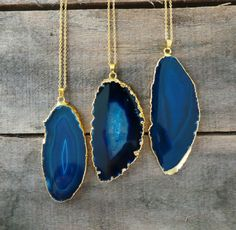 EXPRESS SHIPPING Blue Large Slice Agate Necklace by EliteStone