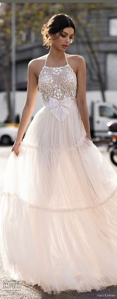 Gali Karten 2017 bridal sleeveless halter neck heavily embellished bodice romantic a line wedding dress open strap back sweep train